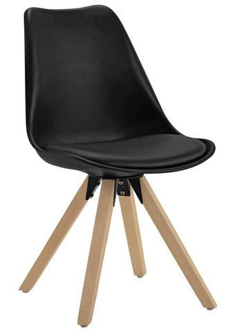 STOL, les, kovina, umetna masa, tekstil črna, hrast - črna/hrast, Design, kovina/umetna masa (48/82/56cm) - Carryhome
