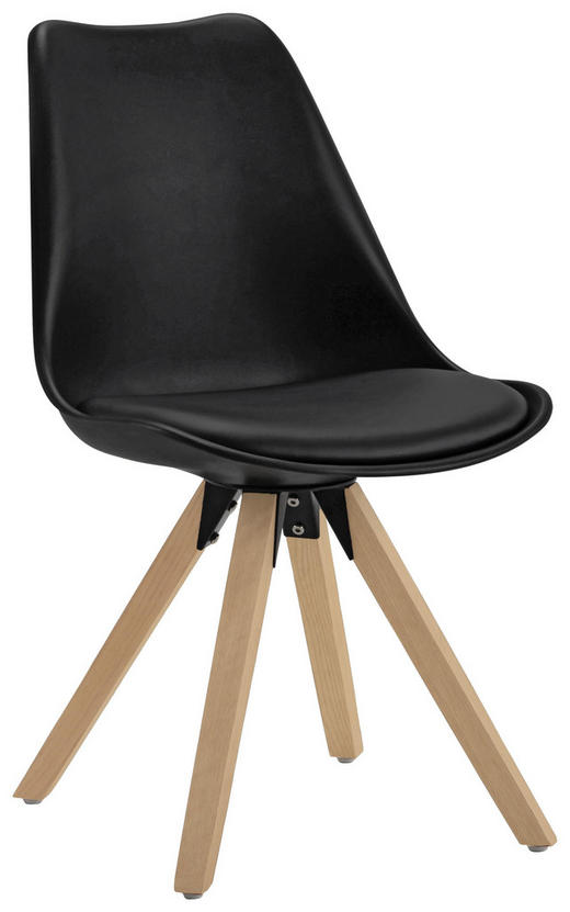 STUHL in Holz, Metall, Kunststoff, Textil Schwarz, Eichefarben - Eichefarben/Schwarz, Design, Holz/Kunststoff (48/82/56cm) - Carryhome