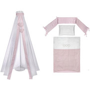 SET ZA POSTELJICO PINK HEARTH - roza/bela, Basics, tekstil - Patinio