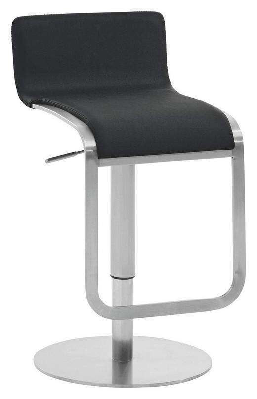 BARHOCKER Dunkelbraun, Edelstahlfarben - Edelstahlfarben/Dunkelbraun, Design, Textil/Metall (40/85 - 100/50cm) - VALDERA