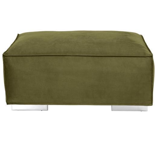 HOCKER in Textil Olivgrün - Olivgrün, KONVENTIONELL, Textil/Metall (105/45/77cm) - Carryhome