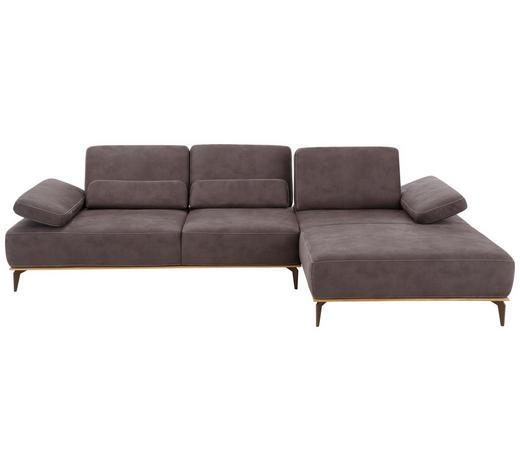 WOHNLANDSCHAFT Braun Mikrofaser  - Beige/Braun, Design, Textil/Metall (298/178cm) - Valnatura