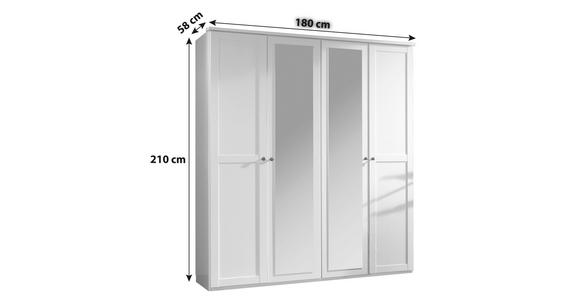 DREHTÜRENSCHRANK in Weiß  - Weiß/Braun, KONVENTIONELL, Glas/Holzwerkstoff (180/210/58cm) - Cantus