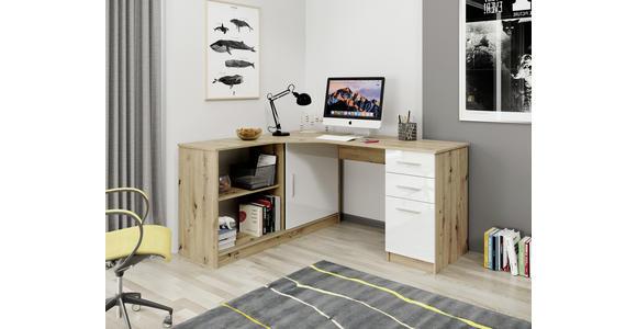 ECKSCHREIBTISCH  - Eichefarben/Alufarben, KONVENTIONELL, Holzwerkstoff/Kunststoff (120/75/150cm) - Venda