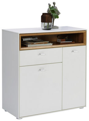 SKOSKÅP - vit/silver, Design, träbaserade material/plast (83/90/35cm) - Hom`in