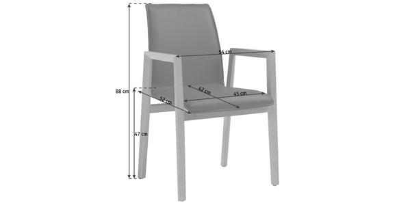 ARMLEHNSTUHL Echtleder Kerneiche vollmassiv Eichefarben, Schwarz - Eichefarben/Schwarz, Design, Leder/Holz (54/88/52cm) - Valnatura