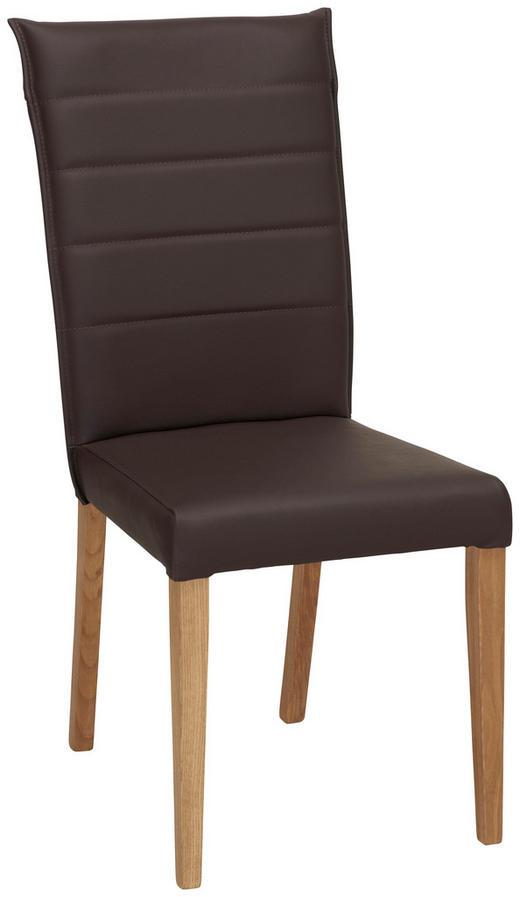 STOL - brun/ekfärgad, Klassisk, läder/trä (45/101/61cm) - VENDA