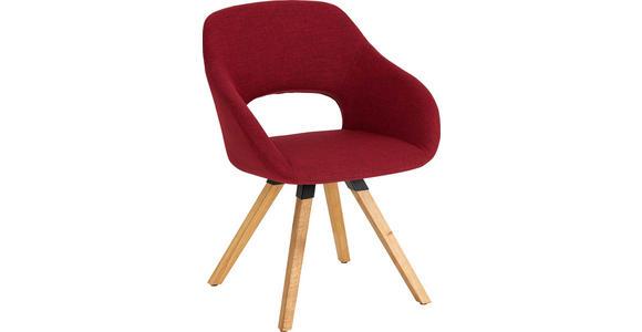 ARMLEHNSTUHL Wildeiche massiv Rot, Eichefarben  - Eichefarben/Rot, Natur, Holz/Textil (62/80/60cm) - Valnatura