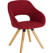 Stuhl in Holz, Textil Eichefarben, Rot - Eichefarben/Rot, Natur, Holz/Textil (62/80/60cm) - Valnatura