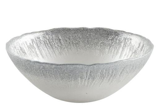 Dekoschale - Silberfarben/Weiß, Trend, Glas (16,5/5,5cm) - AMBIA HOME