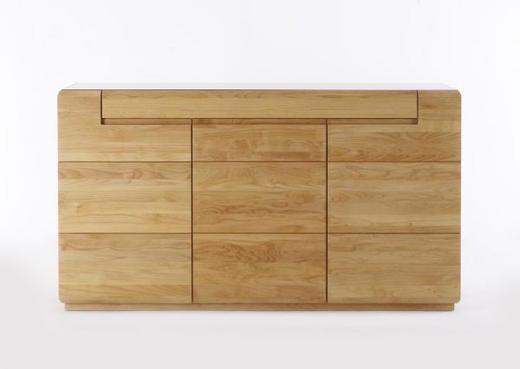 SIDEBOARD Eiche massiv geölt Eichefarben - Eichefarben, Design, Holz (180/100/47cm) - Linea Natura