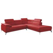 WOHNLANDSCHAFT in Leder Rot - Chromfarben/Rot, Design, Leder/Metall (268/75/88/205cm) - Pure Home Lifestyle