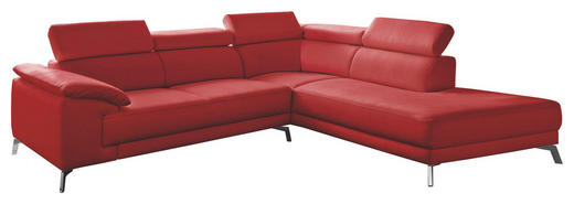 WOHNLANDSCHAFT in Leder Rot - Chromfarben/Rot, Design, Leder/Metall (268/205cm) - Pure Home Lifestyle