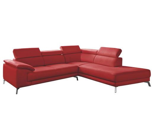 WOHNLANDSCHAFT in Leder Rot  - Chromfarben/Rot, Design, Leder/Metall (268/205cm) - Pure Home Lifestyle