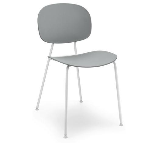STUHL in Metall, Kunststoff Grau, Weiß - Weiß/Grau, Design, Kunststoff/Metall (45/81,5/50,9cm)
