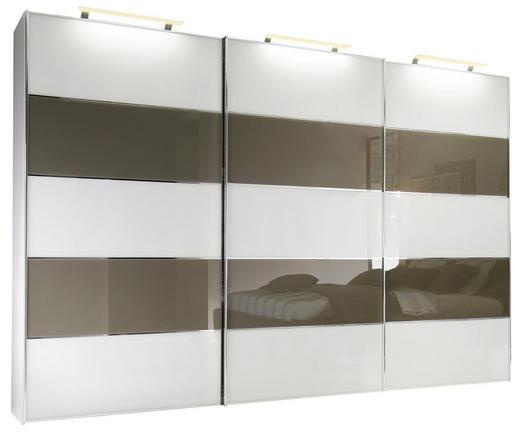 SCHWEBETÜRENSCHRANK 3-türig Braun, Weiß - Chromfarben/Braun, Basics, Glas/Holzwerkstoff (280/222/68cm) - Moderano