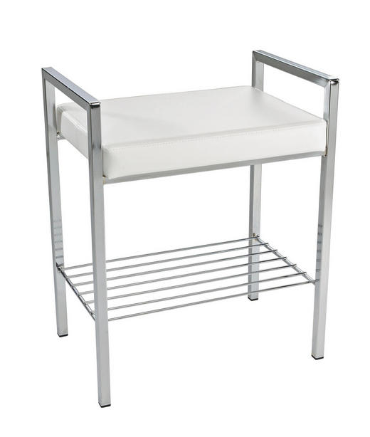 BADHOCKER - Chromfarben/Weiß, Basics, Textil/Metall (48/60/34cm)