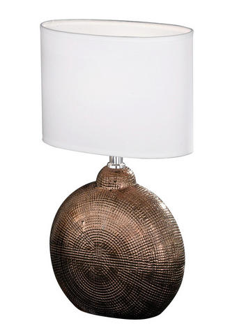 LAMPA STOLNÍ - bílá/měděné barvy, Konvenční, textilie/keramika (23/13/36cm)