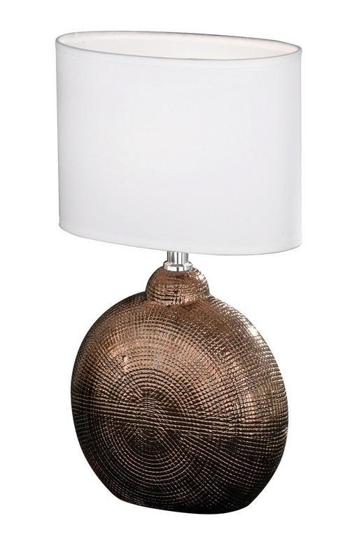 TISCHLEUCHTE - Weiß/Kupferfarben, KONVENTIONELL, Keramik/Textil (23/13/36cm)