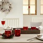 TEELICHTHALTER-SET 5-teilig - Rot/Naturfarben, Basics, Glas/Holz (49/20/40cm)