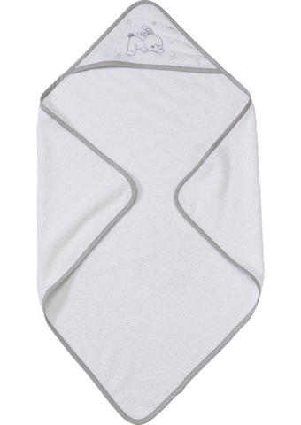 Kapuzenbadetuch - Weiß/Grau, Basics, Textil (75/75cm) - My Baby Lou