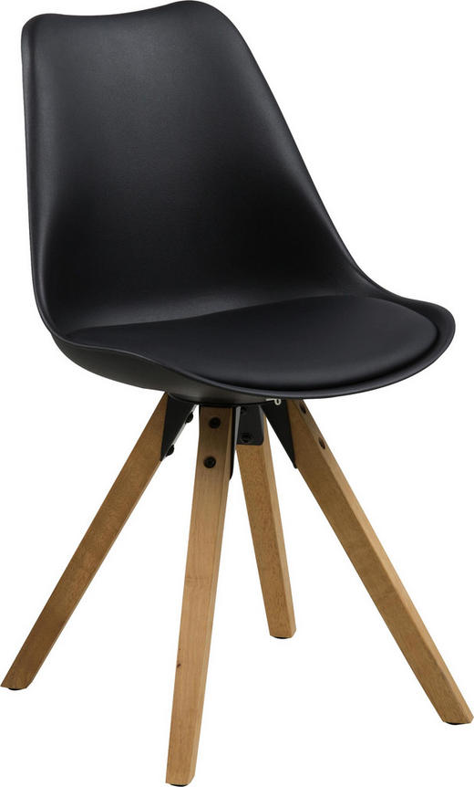 STUHL Lederlook Schwarz - Eichefarben/Schwarz, Design, Holz/Kunststoff (48/82/56cm) - Carryhome