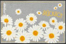 FUßMATTE 50/75 cm Floral Gelb, Hellgrau, Weiß - Gelb/Hellgrau, Basics, Kunststoff/Textil (50/75cm) - Esposa