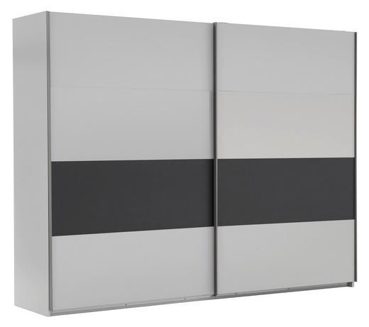 SCHWEBETÜRENSCHRANK 2-türig Graphitfarben, Weiß - Silberfarben/Graphitfarben, Design, Holzwerkstoff/Metall (225/210/65cm) - Carryhome
