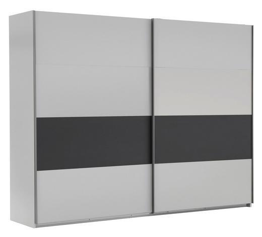 SCHWEBETÜRENSCHRANK in Graphitfarben, Weiß - Silberfarben/Graphitfarben, Design, Holzwerkstoff/Metall (225/210/65cm) - Carryhome