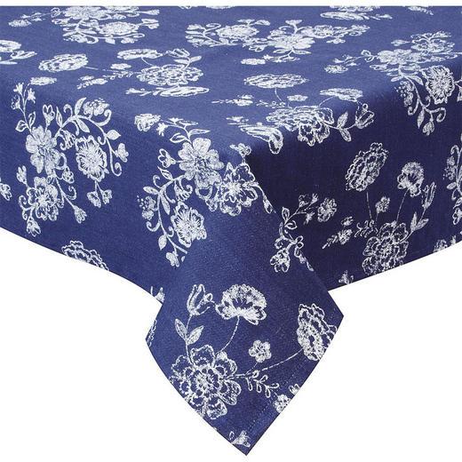TISCHDECKE Textil Dunkelblau, Weiß 150/250 cm - Dunkelblau/Weiß, Textil (150/250cm)