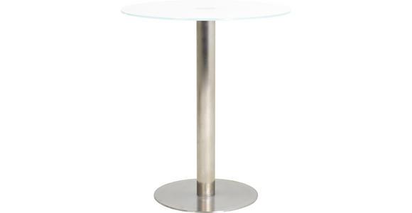 BARTISCH in Edelstahlfarben, Weiß - Edelstahlfarben/Weiß, Design, Glas/Metall (90/105cm) - Dieter Knoll