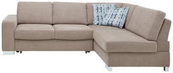 WOHNLANDSCHAFT Beige - Chromfarben/Beige, Design, Textil/Metall (245/178cm) - Venda