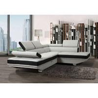 SEDEŽNA GARNITURA  bela, črna les, tekstil - črna/bela, Design, tekstil/les (300/225/73cm) - Cantus