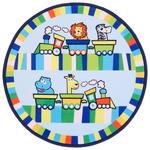 Kinderteppich Rund Tiermotive Blau/Bunt Lionel Ø 80 cm - Blau, Textil (80cm) - Luca Bessoni