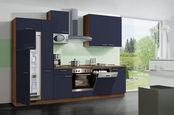 KUHINJSKI BLOK električni aparati, pomivalno korito, sistem za mehko in tiho zapiranje   - oreh/temno modra, Konvencionalno, leseni material (310cm) - Welnova
