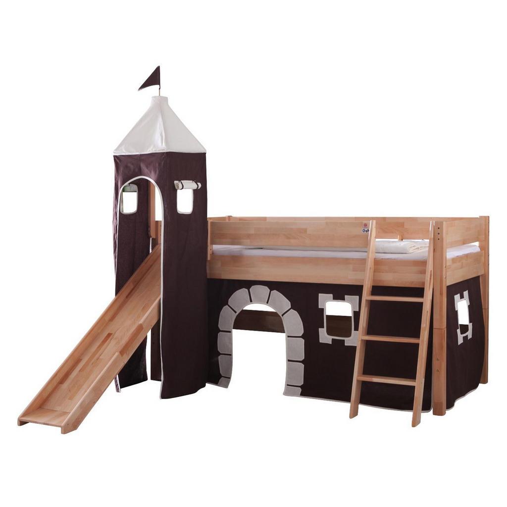 XXXL SPIELBETT Buche massiv 90/200 cm Braun, Beige | Kinderzimmer > Kinderbetten > Hochbetten | Beige | Holz
