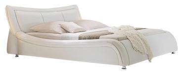 POLSTERBETT 180 cm   x 200 cm   in Textil Weiß - Chromfarben/Weiß, Design, Textil/Metall (213/94/252cm) - Xora