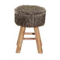 HOCKER in Holz, Textil Naturfarben, Weiß - Naturfarben/Weiß, Basics, Holz/Textil (28/42cm) - Ambia Home