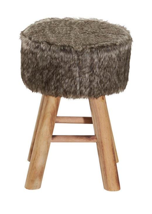 Hocker in Holz, Textil Naturfarben, Weiß - Naturfarben/Weiß, Trend, Holz/Textil (28/42cm) - Ambia Home