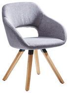 Stuhl in Holz, Textil Eichefarben, Grau - Eichefarben/Grau, Natur, Holz/Textil (62/80/60cm) - Valnatura