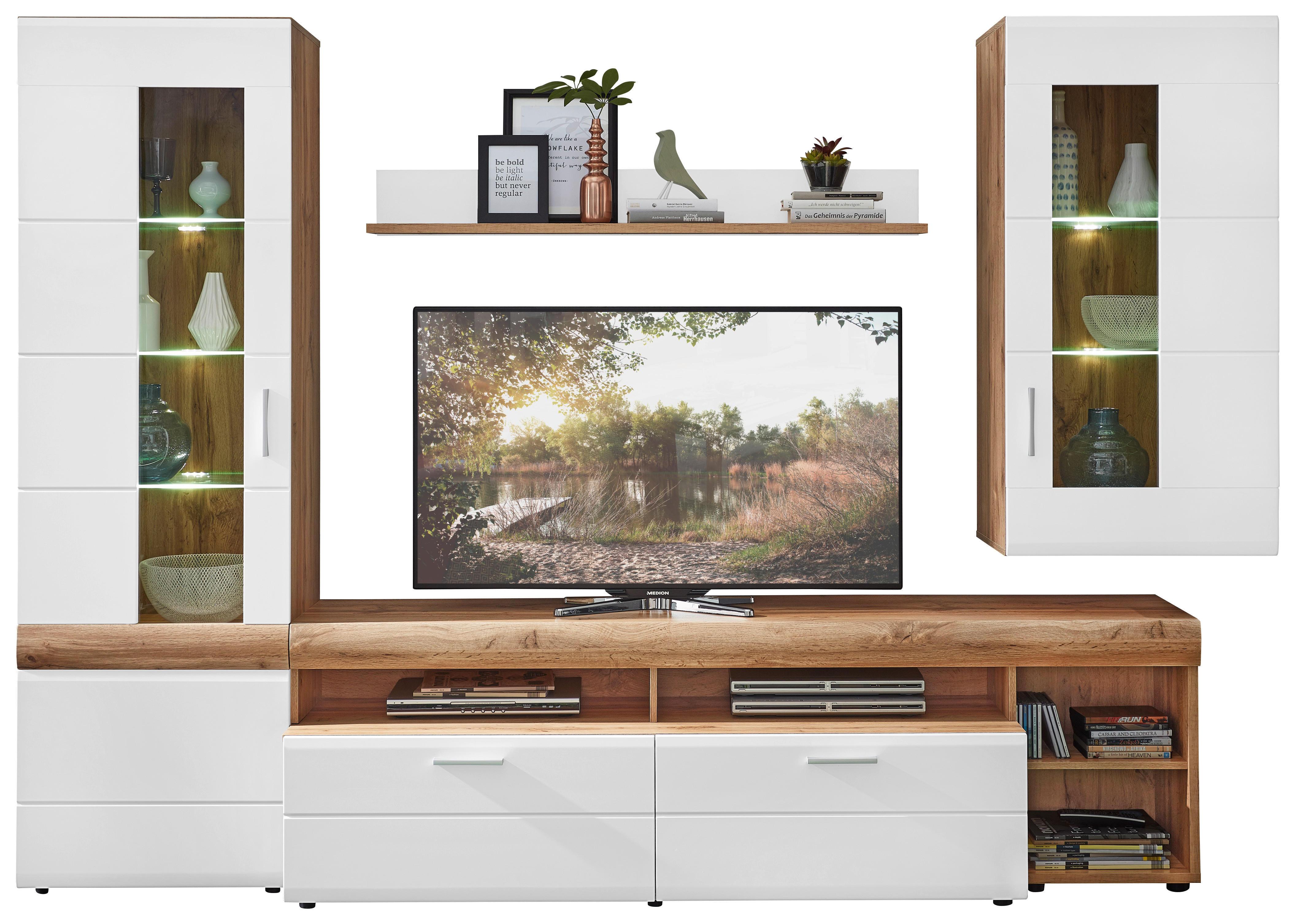Wohnwand In Weiss Mit Beleuchtung Online Kaufen