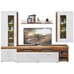WOHNWAND Weiß, Eichefarben  - Eichefarben/Silberfarben, Design, Glas/Holzwerkstoff (280/192/51cm) - Xora