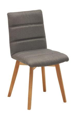 STOL - grå/ekfärgad, Klassisk, trä/textil (48/88/59cm) - Carryhome