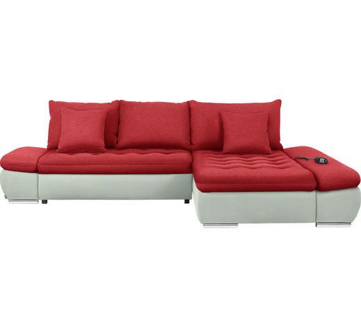 WOHNLANDSCHAFT in Textil Rot, Weiß  - Chromfarben/Rot, Design, Textil/Metall (309/200cm) - Hom`in