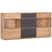 SIDEBOARD - Eichefarben/Grau, Design, Glas/Holz (177/89/42cm) - Valnatura