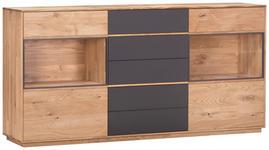 SIDEBOARD Eiche massiv geölt Grau, Eichefarben  - Eichefarben/Grau, Design, Glas/Holz (177/89/42cm) - Valnatura