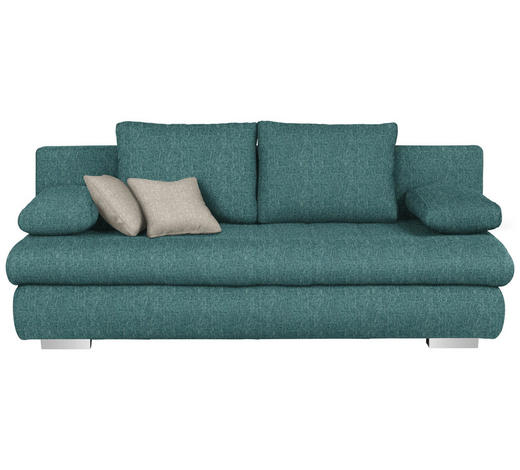 SCHLAFSOFA in Textil Petrol - Chromfarben/Petrol, Design, Kunststoff/Textil (205/88/96cm) - Ti`me