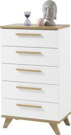 KOMODA - bijela/boje hrasta, Design, drvni materijal/drvo (65/109/40cm) - Ti`me