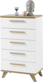 KOMODA, bela, hrast - hrast/bela, Design, umetna masa/leseni material (65/109/40cm) - Ti`me