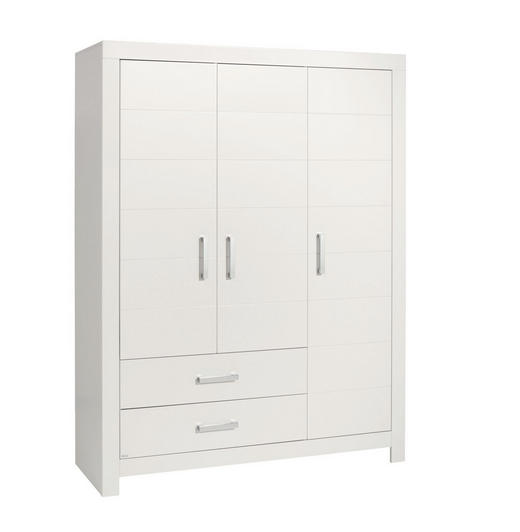 KLEIDERSCHRANK 3-türig Weiß - Chromfarben/Weiß, Design, Holzwerkstoff/Metall (156,8/205,3/55,3cm) - Paidi